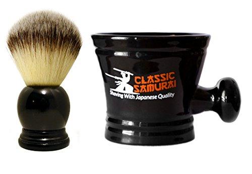 Classic Samurai Men Premium Shaving Set - Classic Samurai Synthetic Shaving Black Brush and Classic Samurai Porcelain Shaving Mug from Classic Samurai