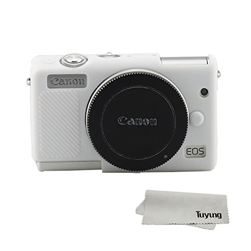 TUYUNG Silicone Camera Case Bag Protective Cover Skin for Canon EOS M100 Digital Camera - White