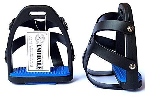 AMIDALE POLYMER STIRRUPS TOE CAGE EQUESTRIAN TRAINING AND GUIDING EQUIPMENT BLUE TREADS 4.75'