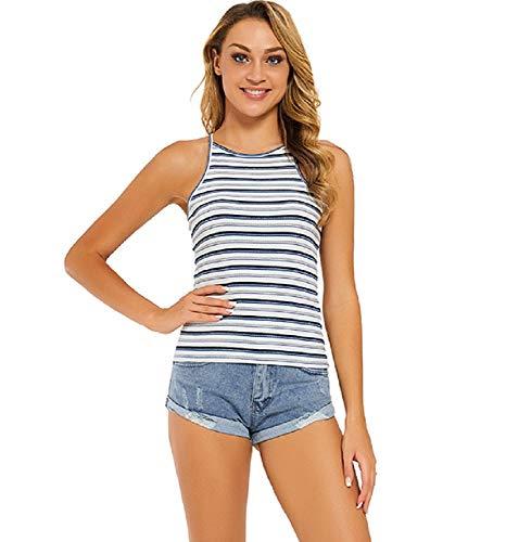 Moxeay Women's Halter Tops Striped Spaghetti Strap Ribbed Racerback Tank Top (XXL/US 14, Blue Stripe)