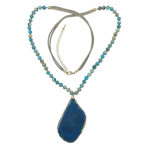 - Gypsy Jewels Long Natural Stone Agate Slice Faux Suede Necklace - Assorted Colors (Imitation Turquoise Grey)
