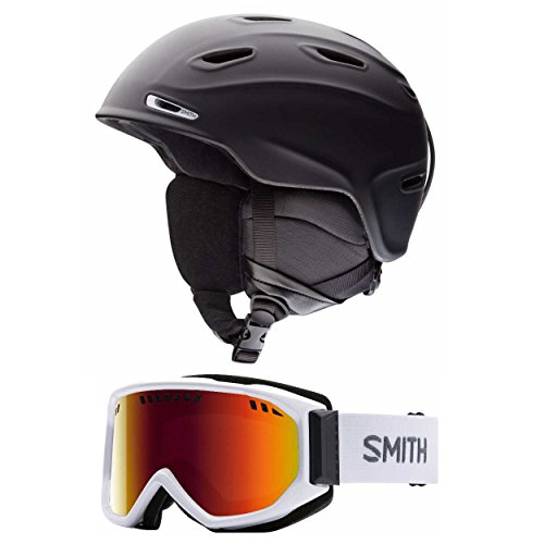 Smith Optics Matte Black Aspect Adult Ski/Snowmobile Helmet and Scope Snow Goggle (Choose Your Size and Goggles) (White, Red Sol X, Extra - Optics Smith Discount