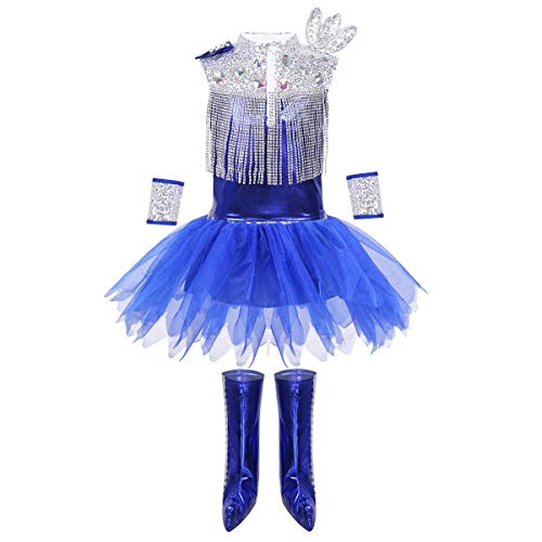CHICTRY Kids Girls Cheerleading Uniform Outfits Cosplay Shiny Sequins Hip Hop Dance Costume Sequins Tutu Blue -