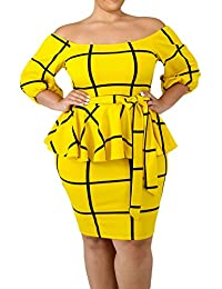 WoldGirls Women's Plus Size Off Shoulder 3/4 Sleeves Checked Peplum Party Dress