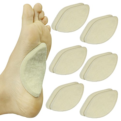 Arch Support Pads by ViveSole (6 Pairs) Adhesive Felt Foot Insert - Men & Women - for Shoes, Sandals, Flip...