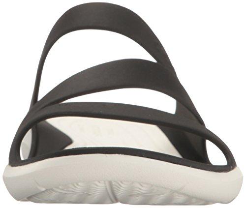 Crocs Swiftwater, Sandalias Flip-Flop, Mujer Negro (Black / White)
