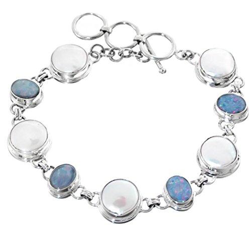 - Coin Freshwater Cultured Pearl Australian Opal 925 Sterling Silver Bracelet, 8 - 9