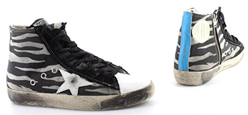 Golden Goose Scarpe Sneakers Donna Francy G26D120T5 Black Zebra Made Italy New