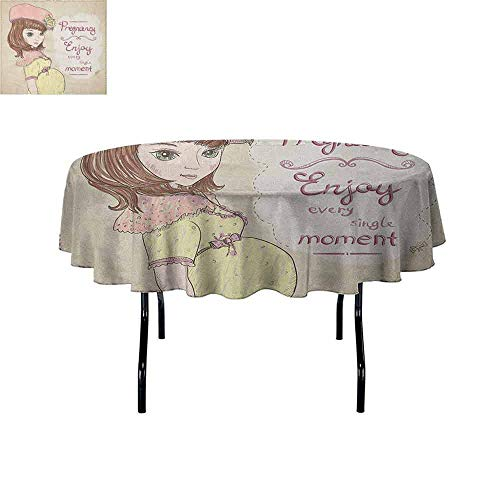 Douglas Hill Quotes Leakproof Polyester Tablecloth Pregnancy Enjoy Every Single Moment Clipart Pregnant Woman Dress Hat Outdoor and Indoor use D35 Inch Eggshell Pink Multicolor -