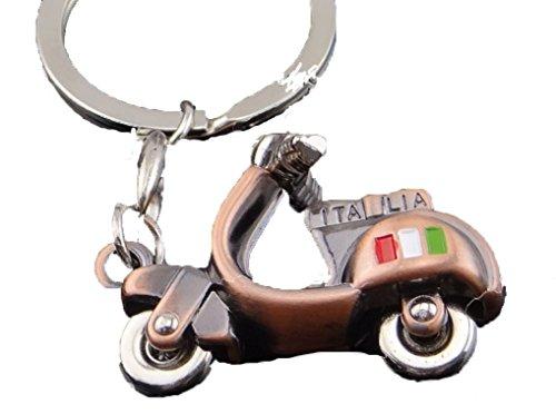 Key 3 Dimensional - FTH ITALIA SCOOTER Copper Enamel Motorcycle 3 Dimensional Key Chain.Handlebars & Wheels Turn