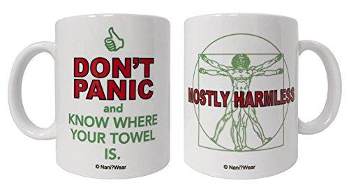 Nani?Wear Hitchhikers Guide Geek 11oz Double-Sided Mug Don't Panic Mostly Harmless