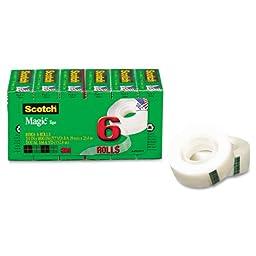 Scotch Magic Tape, 3/4 x 1000 Inches, Boxed, 6 Rolls (810K6)