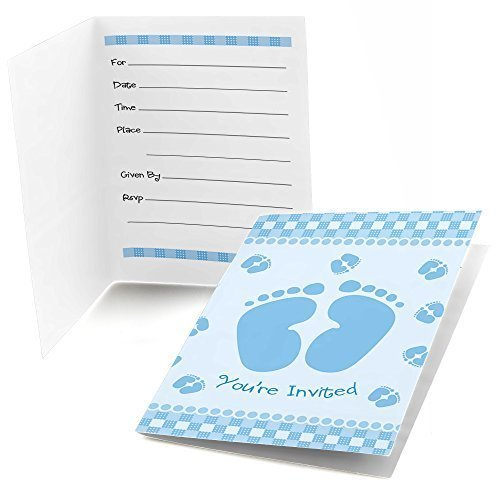 Baby Feet Blue - Fill In Baby Shower Invitations (8 count)