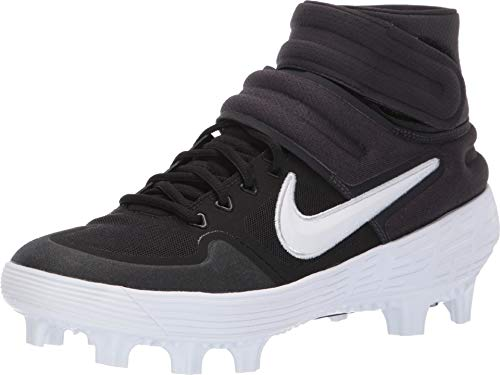 Nike Men's Alpha Huarache Elite 2 Mid MCS Molded Baseball Cleat Black/White/Oil Grey Size 14 M US
