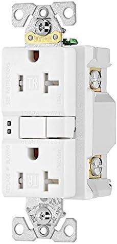 White Eaton TRSGF15W 15 Amp 125V GFCI TR Duplex Receptacle with Self-Test
