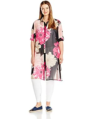 Women's Plus Size Short Sleeve Long Printed Tunic