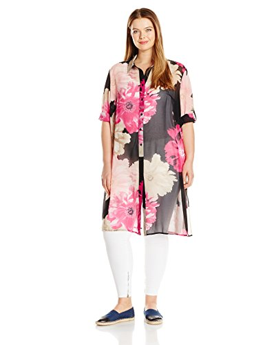 Calvin Klein Women's Plus Size Short Sleeve Long Printed Tunic, Black/Rose Combo, 3X