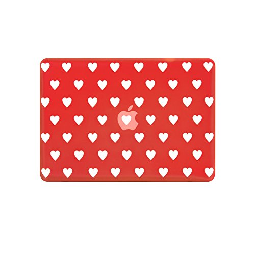 TOP CASE - Heart-Shaped Design Rubberized Hard Case Cover Compatible with Apple MacBook Air 13