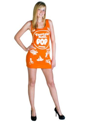 Tootsie Roll Pop Candy Orange Costume Tank Dress (Juniors Small) (Tootsie Roll Girls Costume)