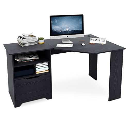 DEVAISE Wood L-shaped Corner Computer Desk for Home Office / Black by DEVAISE