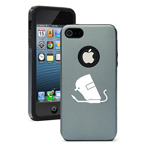For Apple iPhone 6 6s Shockproof AS Aluminum & Silicone Hard Soft Case Cover Welding Helmet Welder (Silver Grey) -