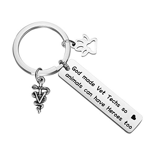 CENWA Veterinarian Gift Vet Tech Appreciation Gift Medical Veterinarian Caduceus KeychainI God Made Vet Techs So Animals Can Have Heroes Too Veterinary Medicine Graduation Gift (Vet Tech K)