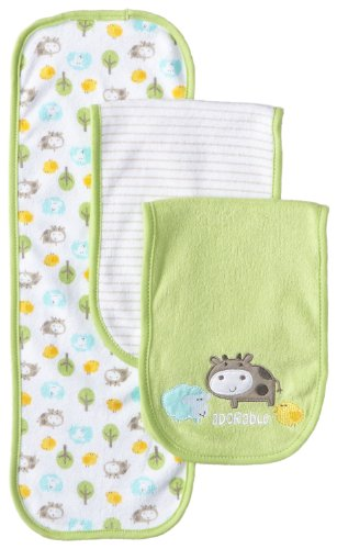 Gerber Unisex-Baby Newborn 3 Pack Terry Burp Cloths - Cow, Green, One Size