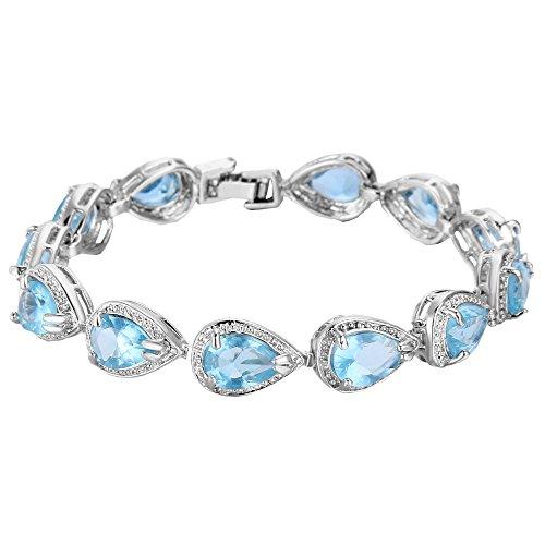 EVER FAITH Women's Prong CZ March Birthstone Teardrop Tennis Bracelet Aquamarine Color Silver-Tone