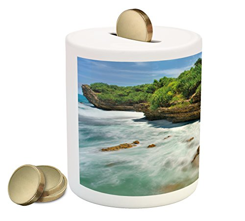Nature Piggy Bank by Lunarable, Jogan Beach Waterfall View in Java Indonesia Tropical Seashore Scenery, Printed Ceramic Coin Bank Money Box for Cash Saving, Green White and - View Indonesia