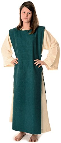 reine Beige naturbeige mit Damen Baumwolle mit Mittelalter HEMAD Leinenstruktur Kleid XL S Grün Skapulier 8ZFaqq
