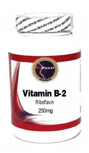 Vitamin B-2 (Riboflavin) 250mg 100 Capsules # BioPower Nutrition