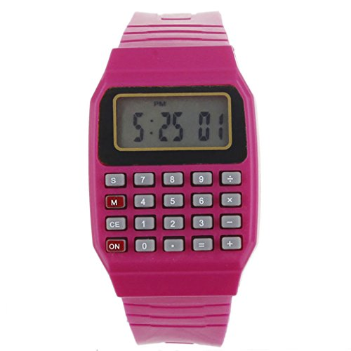 Watch - POTO 2017 New Unsex Silicone Multi-Purpose Date Time Electronic Wrist Calculator Watch (red)