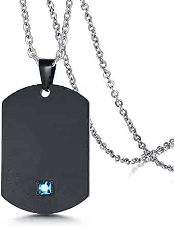 fca9c5f37 PJ Stainless Steel Personalized Military Dog Tag Pendant Custom His & Hers  Matching Couple Necklace