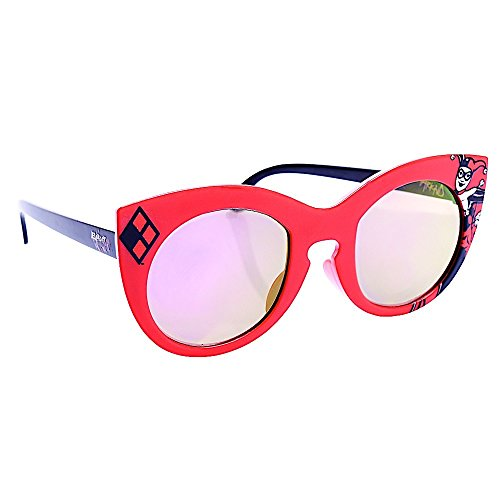 Sun-Staches Costume Sunglasses Red Frame Harley Quinn Arkaid Party Favors UV400 (Harley Quinn Party Favors)