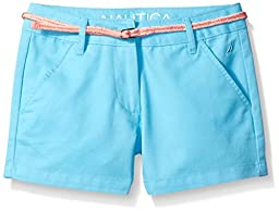 Nautica Little Girls\' Woven Short with Belt, Aqua, 6X