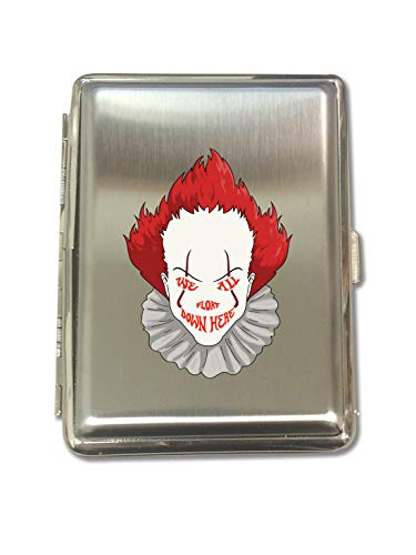 We All Float Down Here Horror Movie Clown - Metal Kings Size Cigarette Case Holder Brushed Chrome Slim 16 Cigs Design Spring - Birthday, Bachelor, Party, Weddings, -