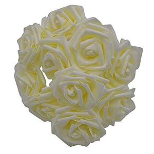 shinney1 25 Heads 8CM New Colorful Artificial Foam Rose Flowers Bride Bouquet Home Wedding Decor Scrapbooking DIY Supplies,F02beige 22