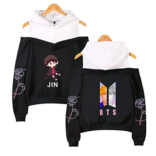 - ZIGJOY Kpop BTS Love Yourself Tear Strapless Shoulder Hoodie with Sweatshirt Suga Jim Jimi V Jungkook J-Hope for Fans Black-JIN M