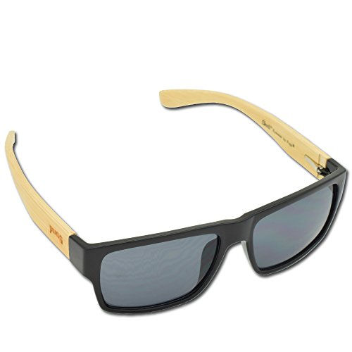 Pugs Bamboo Sunglasses - Durable Wood Frames, Unique Style Classic Vintage Look, 100% UV 400 UVA UVB Protection, Quality Spring Hinges for Men and Women, Square Black, Light Temples, Dark - Hut Discount Sunglass At