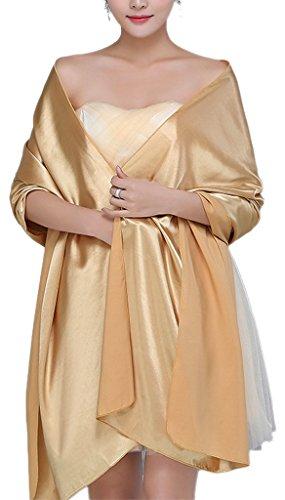 (Alivila.Y Fashion Womens Satin Bridal Evening Scarf Shawl-Gold)
