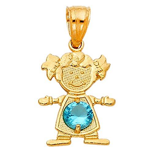 14k Yellow Gold Boy or Girl Birthstone Charm