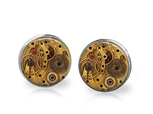 Repurposed Costume Jewelry (Glass steampunk gear earrings, gear earrings, clockwork earrings, gear stud earrings, seampunk stud earrings, posts, stud earrings)