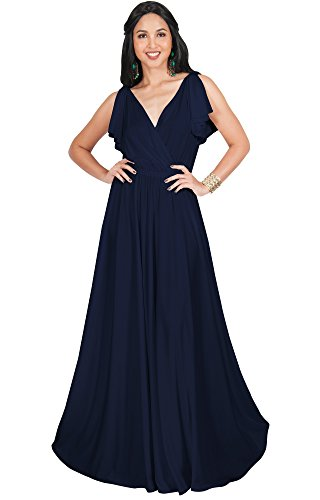 67709aba57 KOH KOH Plus Size Womens Long V-Neck Sleeveless Flowy Prom Evening Wedding  Party Guest