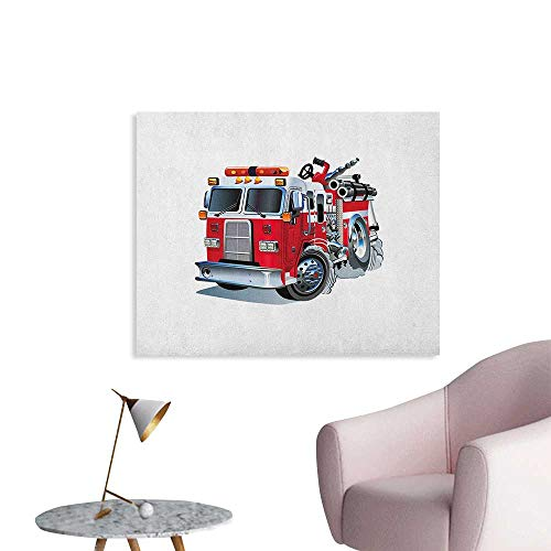 Anzhutwelve Truck Photo Wall Paper Fire Brigade Vehicle Emergency Aid for Public Firefighter Transportation Themed Lorry Custom Poster Grey Red W36 xL24]()