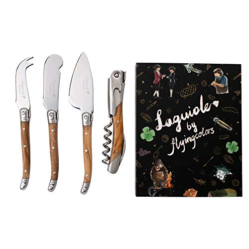 Laguiole By FlyingColors Cheese Knife Set with Corkscrew, Butter Spreader Knives Set with Bottle Opener, with Gift Box