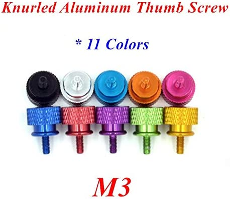 YTXR 10pcs M3 Aluminum step Thumb hand screw computer case screw Thumbscrew Twist screws anodized11 colors Size : Green