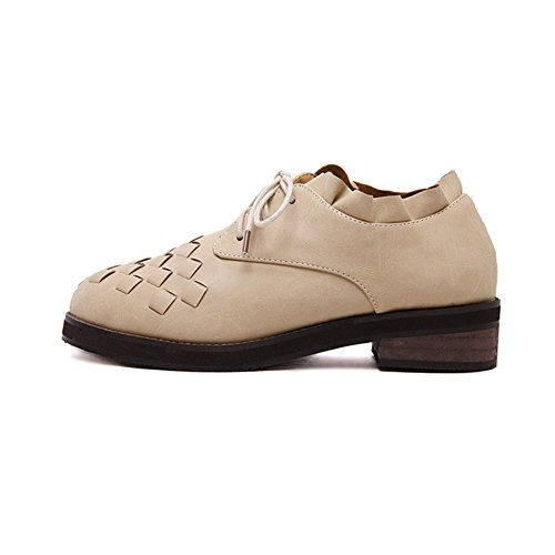 Women's Retro Oxfords Shoes Chunky Heel British Style Lace Up Dance Shoes low-cost