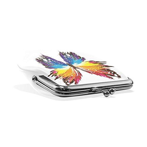 Portefeuille Petit Monnaie Cuir Papillon Modèles De Résumé Multicolore monnaie En Pression D'embrayage Porte Fermeture Coosun Colorés 6wOx7
