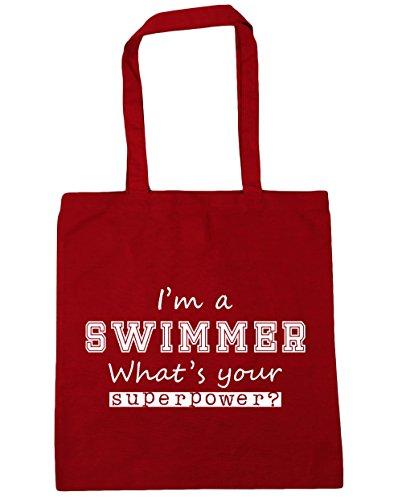 HippoWarehouse I'm a Schwimmer What's Your Supermacht? Einkaufstasche Fitnessstudio Strandtasche 42cm x38cm, 10 liter - Klassisch Rot, One size