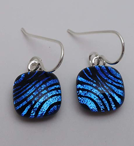 Petite Bright blue blue waves pattern fused dichroic glass dangle earrings Sterling silver ear wires (Fused Glass Dichroic Jewelry)